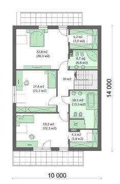 Plan mansarda casa moderna cu 4 dormitoare House Plans, Floor Plans, How To Plan, Houses, Modern, House Floor Plans, Floor Plan Drawing, Home Plans