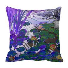 Waterlilies Blue Throw Pillow #zazzle #pillows #blue #purple #waterlilies #pondplants  http://www.zazzle.com/zazzlepillows?rf=238170457442240176