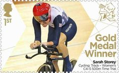 Paralympics Gold Medal Winner stamp - Cycling: Track - Women's C4-5 500m Time Trial, Sarah Storey.
