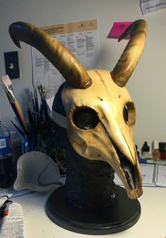 Goat/Ram Skull Mask by CreaturesNCo on Etsy Ram Skull, Skull Mask, Animal Masks, Animal Skulls, Diy Costumes, Halloween Costumes, Villain Mask, Three Witches, Prop Making