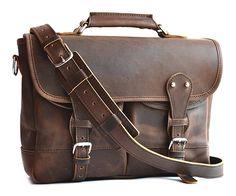 Amazon.com | Marlondo Leather Angler's Bag (Dark Brown) | Briefcases