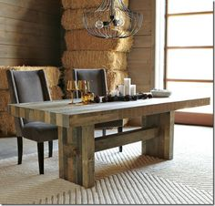rustic table > salvaged squared timber or fence posts