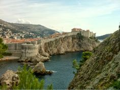 view of dubrovnik old town, walls from across river
