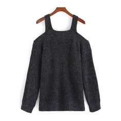 SheIn(sheinside) Off The Shoulder Knit Dark Grey Sweater ($27) ❤ liked on Polyvore featuring tops, sweaters, black, loose knit sweater, long sleeve sweaters, pullover sweater, off the shoulder tops and loose sweater