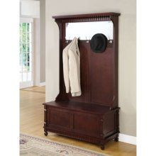 Hall tree with storage bench, not many hooks, mirror too tall