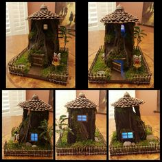 DYI Fairy House made out of a milk jug.