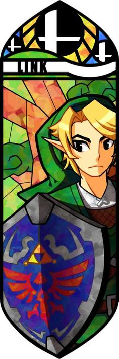 Link looks great in this stained glass mosaic, especially with the shadow made from his shield.  It looks great transparent over the rest of the image.  The only problem is that Link's face doesn't really match the rest of his body. Aside from that, the image is creative and wonderful.