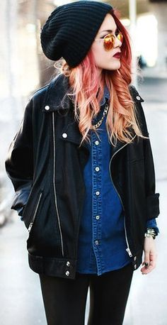 denim shirt. black everything else.