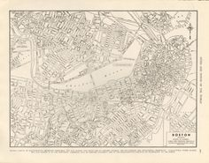 Street Map of Boston Vintage 1945 Black and by amykristineprints, $14.00