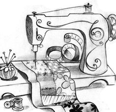 Trendy Sewing Machine Drawing Appliques Ideas A stitching equipment may present a lot of Delight into your life as you commence to sew and create Sewing Machine Tattoo, Sewing Machine Drawing, Machine Applique, Embroidery Applique, Embroidery Stitches, Embroidery Patterns, Quilt Patterns, Machine Embroidery, Sewing Art