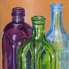 Acrylic Still Life Painting of Bottles - Original Small Painting Wall Art in Purple, Green, Blue. $75.00, via Etsy.