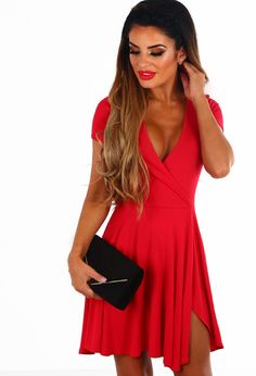 8088fbf8e1 Cute and Casual Red Jersey Wrap Skater Dress - 8