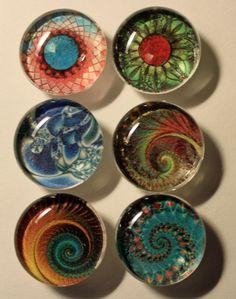 Bold Fractals Glass Gem Super Strong Magnets
