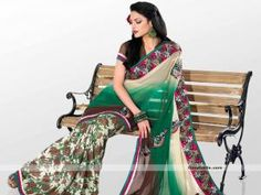 Designer look saree embellished with blend of multicolor. Beautiful floral printed skirt part with multicolor pallu with embroidered gives it trendy look. Heavy border is enhancing its richness. It will look good for kitty or semi-formal parties. http://goodbells.com/saree/designer-printed-multicolor-saree-with-butti-work.html?utm_source=pinterest_medium=link_campaign=pin08AugR32P144