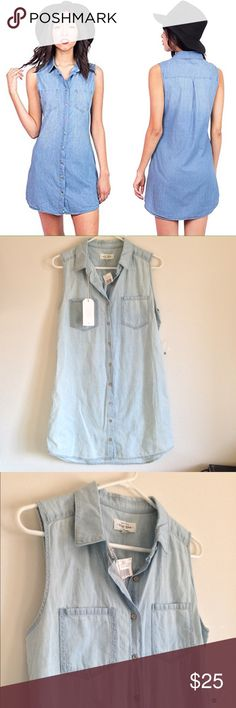 "🚨MOVING SALE🚨 Button Down Chambray Dress Brand new with tag. Sleeveless with chest pockets. Silver color buttons. Lightly wash. 100% cotton. Measurement laying flat: bust: 19"" length: 35"" (25) Basic Denim Max Jean Dresses Midi"