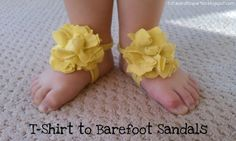 rainbowsandunicornscrafts:    DIY Baby and Toddler Tee Shirt Barefoot Sandals. Tutorial from Tutus & Tea Parties here. *Found while putting together my roundup on barefoot sandals on my other blog here.    Could these be converted to a much bigger size?