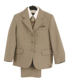 Look at this #zulilyfind! Sage & Ivory Textured Four-Piece Suit - Toddler & Boys #zulilyfinds