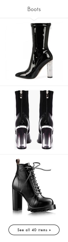 """""""Boots"""" by gabriel-sampaiooo on Polyvore featuring shoes, boots, ankle booties, heels, black patent leather booties, black patent leather boots, black boots, high heel ankle boots, black booties and clear heel shoes"""