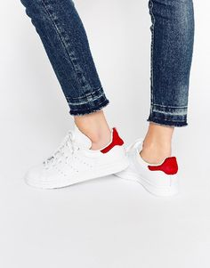 white adidas stan smiths with red