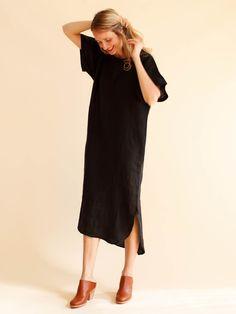 Black Crane Linen Long Dress - Black