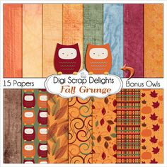 OFF TODAY Fall Grunge Digital Papers with Autumn Owl & Pumpkins for Card Making, Digital Scrapbooking, Crafts, Web Design, Instand Downl Digital Paper Free, Digital Scrapbook Paper, Digital Papers, Owl Pumpkin, Owl Parties, Fall Clip Art, Journal Cards, Pattern Paper, Card Making