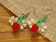 Strawberry beaded earrings. Made entirely by hand from Czech beads. Earrings are not heavy for the ears. Very bright and attractive earrings create a wonderful cheerful mood.  Earrings length 4 cm = 1.6 inches Earrings width 2.5 cm = 1 inches  I suggest you look at the similar earrings: