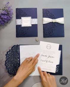Elegant navy blue rose laser cut pocket DIY wedding invitations EWWS189