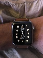 NEW 42mm HERMES Apple Watch SERIES 2 Fauve Brown Single Tour Deployment Buckle