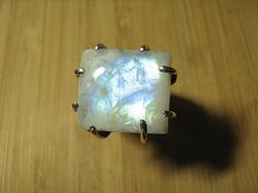 Rainbow Moonstone Adjustable Claw Ring by CreativeEddy on Etsy, $130.00