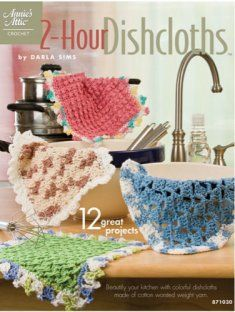 Turn a boring chore into a delightful experience with these 12 quick-to-stitch dishcloths.    These dishcloths will not only brighten your kitchen, but will make great last minute gifts. Each dishcloth is made using 100% cotton yarn and takes 2 hours or less to make.