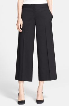 Tory Burch 'Marlie' Stretch Wool Wide Leg Crop Pants available at I just Bought these. Work Fashion, Fashion Pants, Fashion Outfits, Cute Pants, Leggings Are Not Pants, Square Pants, Wide Leg Cropped Pants, Black Trousers, Tory Burch