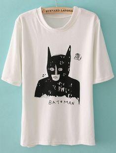 White Batwing Short Sleeve Batman Print T-Shirt