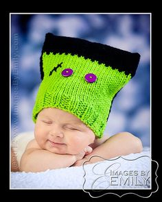 Frankenstein Hat with Purple Button Eyes for boy or by NoisyBoyz, $18.00