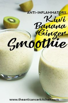 Super healthy, delicious, anti-inflammatory and antioxidant easy-to-make smoothie with Kiwi fruit, Bananas, Ginger and Oats. Kiwi Smoothie, Smoothie Prep, Apple Smoothies, Healthy Smoothies, Smoothie Recipes, Kiwi Fruit Recipes, Juicer Recipes, Smoothie Cleanse, Green Smoothies