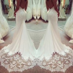 Sexy Bacless Mermaid Wedding Dress-For more styles, go to www.amzingbridals.com