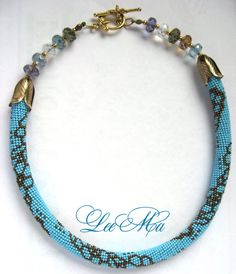 Bead Crochet Necklace The spring sky  Blue by LeeMarina on Etsy, $138.00