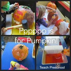 Pumpkin painting, pouring, pounding, and playdough play by Teach Preschool