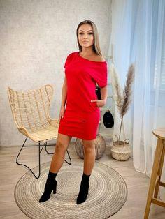 Športové šaty VSB KARA red Kara, Cold Shoulder Dress, Red, Sweaters, Dresses, Fashion, Vestidos, Moda, Fashion Styles