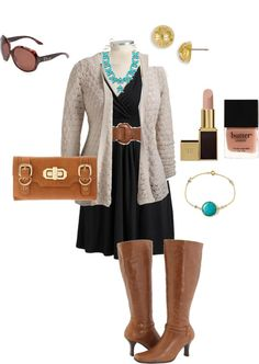 Black and Tan - Plus Size Fall Outfit - Wide Calf boots - need to find new stylish clothes after I have this baby! Curvy Girl Fashion, Work Fashion, Plus Size Fashion, Fashion Outfits, Fashion Clothes, Plus Size Fall Outfit, Plus Size Outfits, Fall Winter Outfits, Autumn Winter Fashion