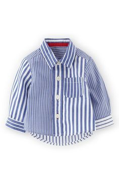 """Free shipping and returns on Mini Boden Laundered Cotton Sport Shirt (Baby Boys) at Nordstrom.com. <p><B STYLE=""""COLOR:#990000"""">Pre-order this style today! Add to Shopping Bag to view approximate ship date. You'll be charged only when your item ships.</b></p><br>A fresh mix of crisp stripes patterns this soft, laundered-cotton sport shirt detailed with a spread collar and chest pocket."""