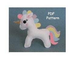 Unicorn Sewing Pattern Felt Unicorn Plush Unicorn by MaisieMooNZ