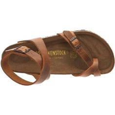 Birkenstock Thong ''Yara'' from Leather in antique brown with a regular insole
