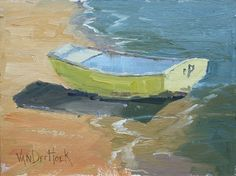 Half In Half Out - A Small Painting of A Boat at The Beach