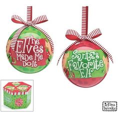 Christmas Holiday Ornaments 3 The Elves Made Me Do It  Santas Favorite Elf Message Gift Boxed Set of 14 *** Read more at the image link.-It is an affiliate link to Amazon. #SeasonalDecor