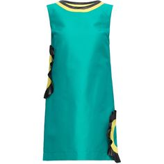 LATTORI Short Green Cut Out Cotton Shift Dress (285 BGN) ❤ liked on Polyvore featuring dresses, embellished shift dress, cotton shift dress, green dress, short blue dress and blue cut out dress