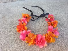 Pink and Orange Floral Headband/ Flower Crown. by DevineBlooms, $13.00