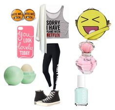 """""""me"""" by twinz4ever ❤ liked on Polyvore featuring NIKE, Converse, Topshop, Eos and Essie"""