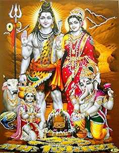 """Lord Shiva Family/ Hindu God Poster with Glitter -reprint on paper (Unframed : Size 9""""x11"""" Inches)"""
