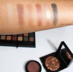 Swatches of the Anastasia Beverly Hills Master Palette by Mario on dark skin. adiaadores.com