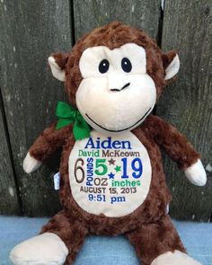 Personalized baby gift monogrammed monkey birth announcement by personalized baby gift monogrammed monkey birth announcement by worldclassembroidery 4399 baby boy baby girl baby negle Image collections